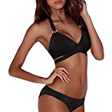 AMUSTER Damen Neckholder Bikini Set Push Up Triangel Bikinis Frauen Sexy Bikini Set Push-Up Padded Bademode Badeanzug Badeband Beachwear (S, Schwarz)