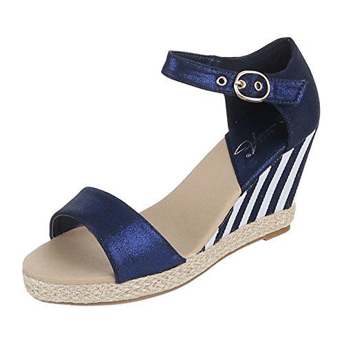 Damen Schuhe, 1105-1, SANDALETTEN KEIL WEDGES Blau