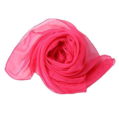 Leisial Solide Couleur Foulards de Fibres Synthétiques Été Plage Sunscreen Châle pour Femme 190cm x 140cm Rose rouge