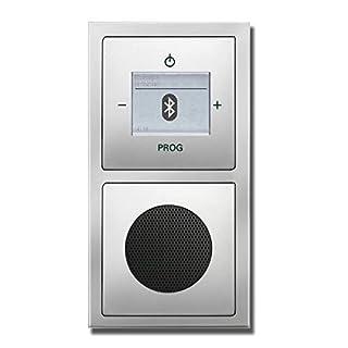 Busch Jäger Unterputz UP Bluetooth Radio 8217 U (8217U) PUR Edelstahl Komplett-Set // Radioeinheit + Lautsprecher + 2-fach Rahmen 1722-866K + Abdeckungen