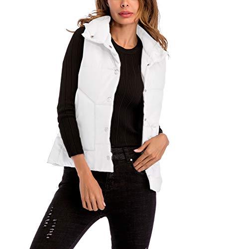 Swallowuk Ärmellos Jacket Damen Steppweste Herbst Winter Elegante Ärmellos Weste Mädchen Casual Revers Outerwear Streetwear Mantel Coat (XL, Weiß) -