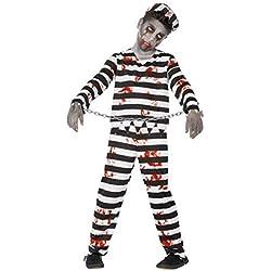 Smiffy's 44326L - Disfraz de zombi convicto, color negro y blanco, talla L (para 10-12 anos)
