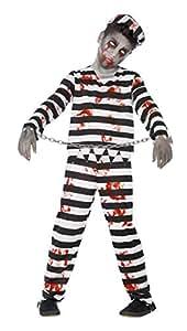 Smiffys Déguisement Enfant, Condamné zombie, avec haut, pantalon, chapeau & menottes à chaîne, Âge 4-6 ans, 44326