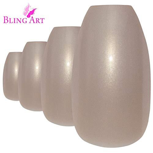 Faux Ongles Bling Art Beige Perlé Ballerine Cercueil 24 Longue Faux bouts d'ongles acrylique avec colle