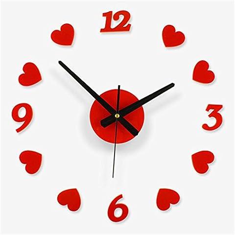 DU&HL DIY moderne Horloge murale Montre Decor Stickers Effet TV Fond Décoration pour la maison Bureau Salon Chambre noire
