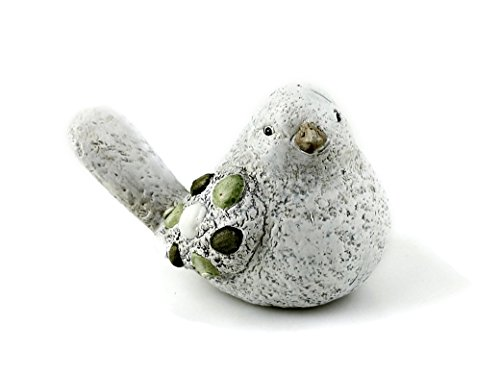 Deko Figur Gartenfigur Vogel Vögelchen aus Keramik matt grau Stein Optik mit Steindeko grün 14 x 9 cm, Dekofigur witzige Gartendeko Steintier