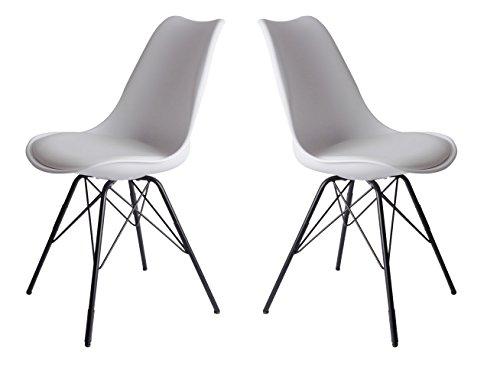 Metall Stuhl (SAM Schalenstuhl Lerche, 2-er Set, weiß, integriertes Kunstleder-Sitzkissen, schwarze Metallfüße, Esszimmerstuhl im skandinavischen Stil)