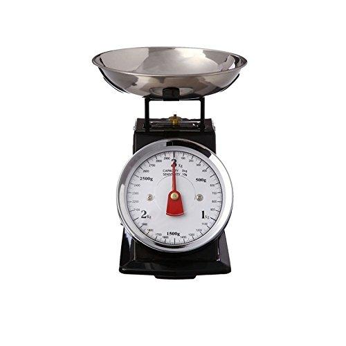 AC-Déco - Bilancia da cucina meccanica con piatto rimovibile, 3 kg, effetto vintage, colore: Nero