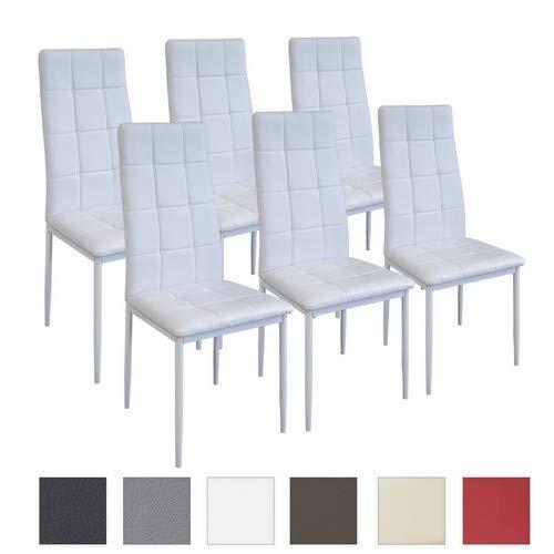 Albatros Silla Rimini, Set de 6 sillas, Blanco, certificada por la SGS,...