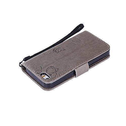Coque iPhone 5 / 5S / SE, Housse iPhone 5S Cuir, SpiritSun Etui Coque pour iPhone 5 / 5S / SE (4.0 pouces) Élégant Papillon et Fleur Motif Leather Housse Téléphone Stand Wallet Case Luxe PU Cuir Poche Gris