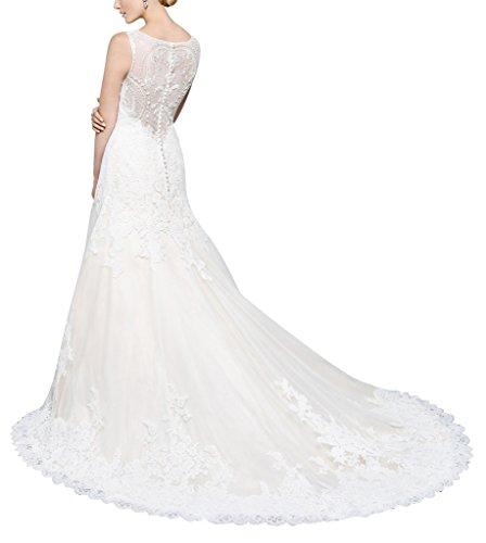 GEORGE BRIDE Maschengarn Ruecken Muster wunderschoenen spitze schlepp Brautkleid Weiß