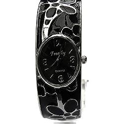 QBD Damen Geschnitzt Farbe Armband Damen Armbanduhr Mode Uhr Beauty Kleid Uhr Einzigartiges Design-Schwarz