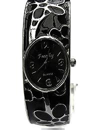 Women's Carved colour bracelet watch Women's Fashion Style Watch Beauty Dress Watch Unique Design -Black