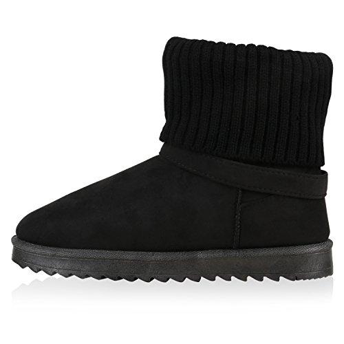Damen Schuhe Schlupfstiefel Warm gefüttert Schwarz Schnalle