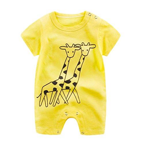 FNKDOR Neugeborenen Baby Jungen Mädchen Cartoon Strampler Niedlichen Overall Kleidung (3-6 Monate, Gelb)