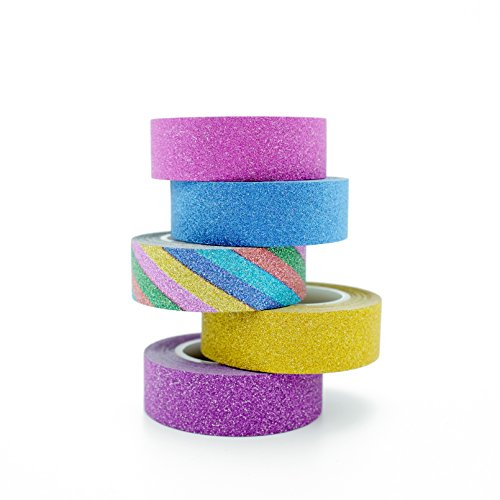 InnoBeta Washi Tape glitter, Nastri Decorativi, Nastro Adesivo Colorato, Nastro adesivo decorative, Bullet journal, Scrapbooking, Carta DEcorativa Fai da Te Riutilizzabile Nastro,Set di 5