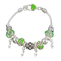 Souarts Silver Color Green Rhinestone Charms Snake Chain European Bracelet with Heart Clasp 21cm