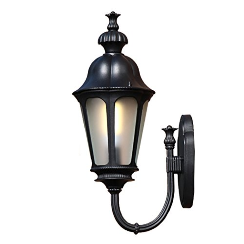 GKJ Patio Lampe de mur étanche, extérieur en aluminium étanches à la poussière lumières murales extérieures Villa jardin couloir Balcon couloir lampe de mur Ingénierie éclairage simple tête E27, 30.5 * 56CM ( Couleur : Noir )