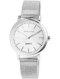 Unisex reloj de pulsera analógico cuarzo acero inoxidable reloj elegante y moderno atemporal