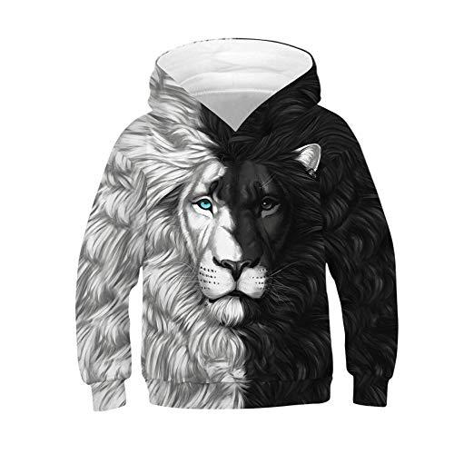 Q&S Schwarz und weiß Unisex Kapuzenpullover Sweatshirt Sweater Kinder 3D Print Grafik Pullover Hoodie Pulli Sweatshirts Tasche Löwe 145cm-150cm (L)