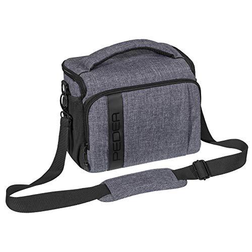 PEDEA DSLR-Kameratasche Fashion Fototasche für Spiegelreflexkameras mit wasserdichtem Regenschutz, Tragegurt und Zubehörfächern (Größe XL, grau)