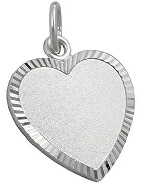 Mya Art Damen Herren Anhänger für Kette Herz Herzanhänger zum gravieren Gravurplatte 925 Sterlingsilber