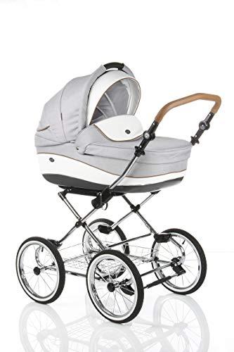 sistema de viaje 3 en 1, retro clásico, silla de paseo, carrito con capazo y silla de coche y accesorios roan emma (e-54 light grey-white leather, 3in1)