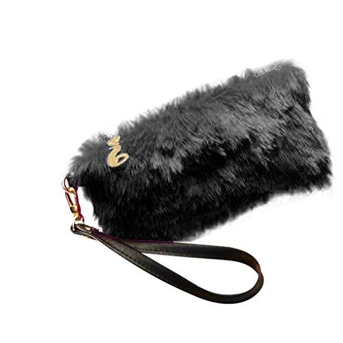 KOROWA Portafoglio morbido della frizione della peluche del raccoglitore della moneta della chiusura lampo della signora donne per la borsa da sera bianca nero