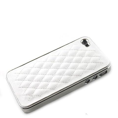 Etui Coque Cuir Matelassé - Modèle Luxe Pour Apple Iphone 4G / 4S - Blanc