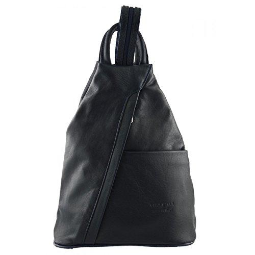 Dream Leather Bags Made in Italy toskanische echte Ledertaschen Damen Leder Rucksack Farbe Dunkelblau - Italienische Lederwaren - Rucksack
