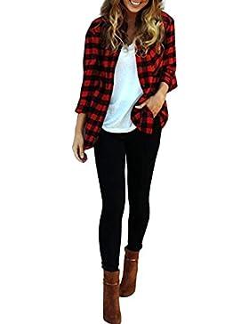 Vin beauty Rojo Y Negro a cuadros diario mangas largas Bolsillo blusa de la camisa