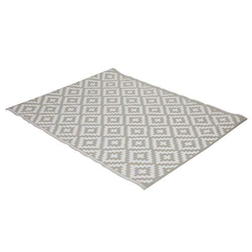 greemotion Outdoor-Teppich Santo aus Kunststoff, beigefarbener Teppich mit Muster, pflegeleichter Wendeteppich für in- & outdoor, ca. 200 x 150 cm