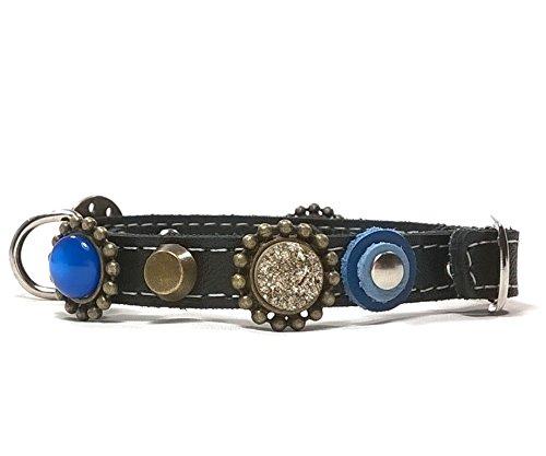 Superpipapo Echt-Leder Hunde-Halsband Handgemacht Design für Chihuahua Kleine Mittelgrosse und Grosse Hunde | Edel Luxus Fashion Modern Elegant Chic und Cool