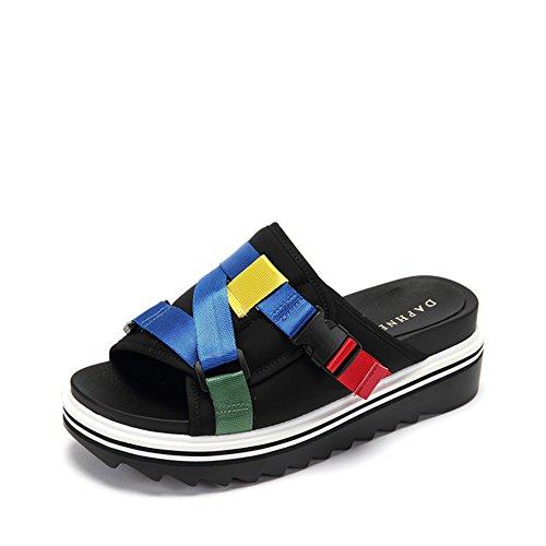 tempo libero e scarpe con la suola spessa in estate/Colore fibbia piattaforma sandali B