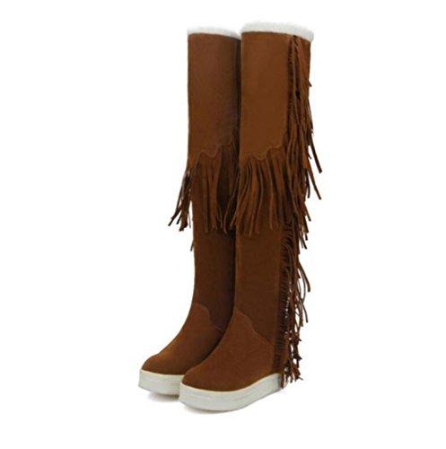 WYWQ Stivali sopra il ginocchio Stivali da neve 40-45 Stivali donna di grandi dimensioni Stivali peluche Tassel High Tube Mantenere caldi stivali di cotone ispessimento yellow