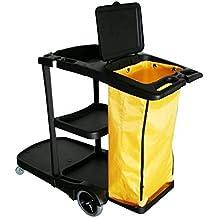Carro de limpieza profesional modelo Style de gran calidad con tapa para la bolsa de lona. Con capacidad para dobles cubos, cubos con prensa, contenedores, bolsas, productos químicos, etc.