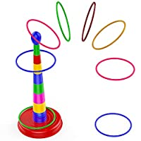"Quoits Ring Toss Game for Kids,18"" Colorful Plastic Detachable Ring Toss Toy Suitable for All Age Indoors 