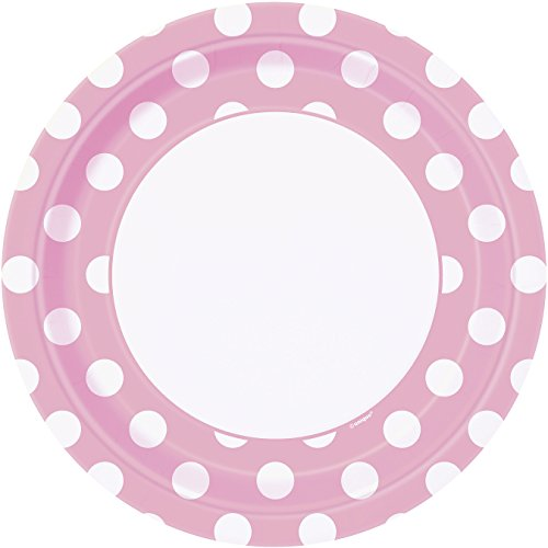 Unique Party - 37975 - Paquet de 8 Assiettes - Carton à Pois - 23 cm - Rose Pastel
