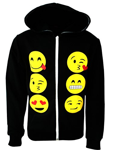 KIDS EMOJI EMOTICONS SMILEY FACES LONG SLEEVE HOODIES TOPS GIRLS AGE  13 Years