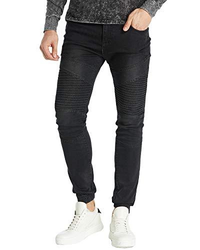 MODCHOK Herren Jeans Denim Hose Basic Stretch Jeanshose Motorrad-Hose Slim Regular 3 Schwarz M