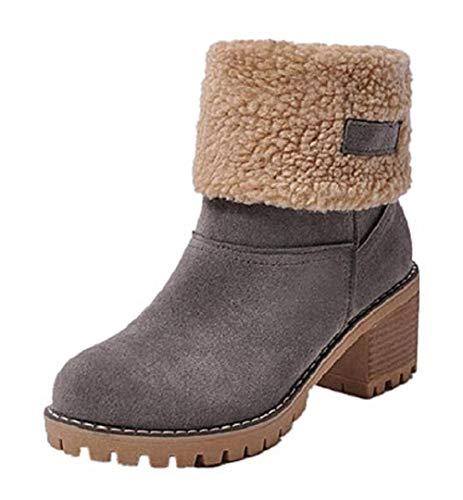 Botas Mujer Invierno Tacon Forrado Calentar Botas Altas Botines Moda Casual Outdoor Zapatos de Nieve