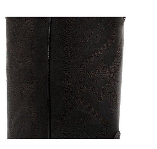 Bottes homme style Lousiana cowboy western cuir véritable noir ou marron bouts pointus Noir