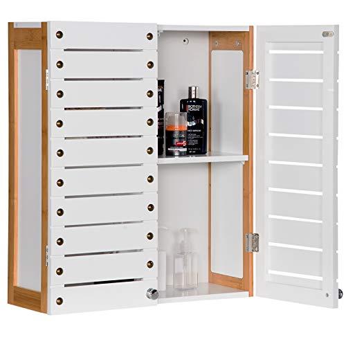 WOLTU Hängeschrank Wandschrank Küchenschrank Badschrank Medizinschrank Wandboard Regal mit Tür und Einlegeboden Bambus weiß