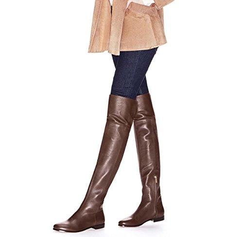 Reißverschluss Runde Quadratische Knie Oben Oberschenkel Stiefel Lässig Ritter Stiefel,#2,40 (Breite Oberschenkel Hohe Stiefel)