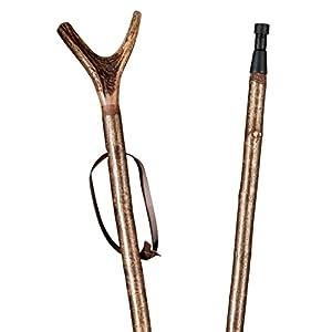 Zielstock Haselnuss mit Hirschhorngabel, 2-geteilt mit Stahlgewinde und Combispike