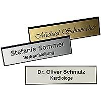 Schmalz Werbeservice Plastique Nom avec Facettes Bord avec Gravure Aiguille Argent, Or ou Blanc Gravé Insignes D…