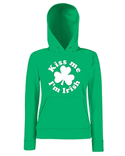 T-Shirtshock - Sweatshirt a capuche Femme TIR0128 kiss me im irish Vert