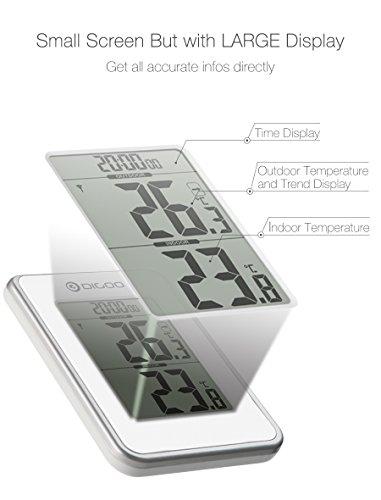 Digoo DG-TH1980 Home Komfort Digital LCD Innen- und Außenthermometer Monitor Tischuhr Wetterstation mit Funkuhr und Außensensor - Funktion Zeit Wecker (+ Snooze) - Weiß
