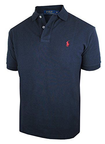 RALPH LAUREN Herren kurzarm Poloshirt Classic Fit C8312 (S, blau) (S/s Mesh-polo-shirt)