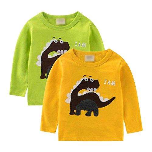 Jitong animal print Remendado Dinosaurio Niño Pull-over Sudadera Manga Larga Camisetass para Bebé (2pcs, 100cm)